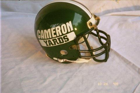 "Official Mules mini helmet $199. Game worn helmet once worn by Aborigine Mules player ""Deepak Dutxzembezi"" 1934"